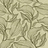 Vector seamless floral leafs pattern Royalty Free Stock Image
