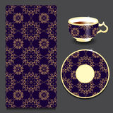 Vector seamless floral orient or armenia pattern with cup and pl Royalty Free Stock Images