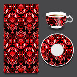 Vector seamless floral orient or armenia pattern with cup and pl Stock Photos