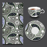 Vector seamless floral paisley pattern with cup and plate. stock Stock Photography
