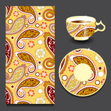 Vector seamless floral paisley pattern with cup and plate. stock Royalty Free Stock Image