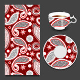 Vector seamless floral paisley pattern with cup and plate. stock Stock Image