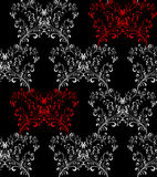 Vector Seamless floral pattern. Seamless floral background with red and white patterns on a black background Stock Images