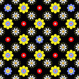 Vector Seamless floral pattern. Seamless floral pattern in bright saturated colors on a black background Stock Photo