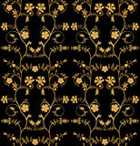 Vector seamless floral pattern. On black background Royalty Free Stock Images