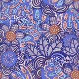Vector seamless floral pattern. Seamless abstract hand-drawn flower pattern Royalty Free Stock Image