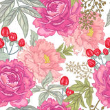 Vector seamless floral pattern. Vector background with the image of garden flowers peony, roses, ornamental grasses, berries. Seamless pattern. Victorian style Stock Photos