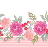 Vector seamless floral pattern. Vector background with the image of garden flowers peony, roses, ornamental grasses, berries. Seamless pattern. Victorian style Royalty Free Stock Image