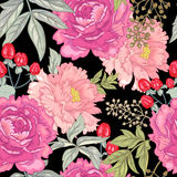 Vector seamless floral pattern. Vector background with the image of garden flowers peony, roses, ornamental grasses, berries. Seamless pattern. Victorian style Royalty Free Stock Photo