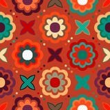 Vector seamless floral pattern. In bright multiple colors. Colorful background with flowers and dots in 1960s fashion style. Positive spring summer texture Stock Photos