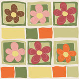 Vector seamless floral pattern. Colorful background with flowers and squares in style of child drawing Stock Photo