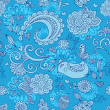 Vector seamless floral pattern and a cute bird. blue. royalty free illustration