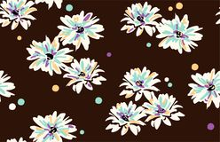 Vector seamless floral pattern with  daisy flowers. Floral background. colorful daisies Royalty Free Stock Image