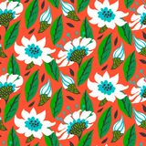 Vector seamless floral pattern with daisy flowers. On bright red. Texture for web, print, wallpaper, gift wrapping, home decor, spring summer fashion, wedding Royalty Free Stock Images
