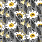 Vector seamless floral pattern with daisy flowers. On grey. Texture for web, print, wallpaper, gift wrapping, home decor, spring summer fashion, wedding Royalty Free Stock Photo