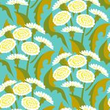 Vector seamless floral pattern with dandelions. Vector seamless floral pattern with dandelion flowers on turquoise. Texture for web, print, wallpaper, gift Royalty Free Stock Photography