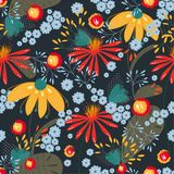 Vector seamless floral pattern on dark coloured background.Texture, background, wallpaper royalty free illustration