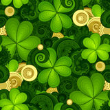 Vector Seamless Floral Pattern with Decorative Clover and Gold Coins Stock Image