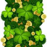 Vector Seamless Floral Pattern with Decorative Clover and Gold Coins Stock Images