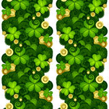 Vector Seamless Floral Pattern with Decorative Clover and Gold Coins Stock Photography