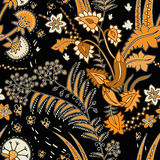 Vector seamless floral pattern with decorative plants. Black background and contrast yellow flowers. Decorative Royalty Free Stock Photos