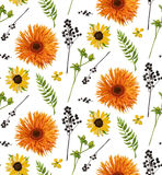 Vector seamless floral pattern element of orange yellow gerbera flower daisy, watercolor fern, seasonal green plants, berry branch Royalty Free Stock Photo