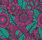 Vector seamless floral pattern with fancy flowers. Royalty Free Stock Photos
