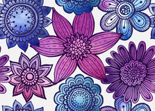 Vector seamless floral pattern with fancy flowers. Royalty Free Stock Photo