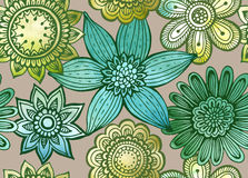 Vector seamless floral pattern with fancy flowers. Royalty Free Stock Images