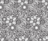Vector seamless floral pattern with fancy flowers. Royalty Free Stock Image