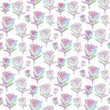 Vector seamless floral pattern with fantasy blooming flowers. Decorative background for print textile, fabric, wallpaper, home dec Stock Photo
