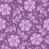 Vector seamless floral pattern with fantasy blooming flowers Royalty Free Stock Photography
