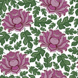 Vector seamless floral pattern with fantasy blooming flowers Stock Photos