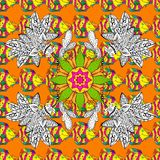 Abstract colored picture. Vector seamless floral pattern with flowers, leaves, decorative elements, splash, blots, drop Hand drawn contour lines and strokes Stock Image