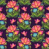 Vector seamless floral pattern in folkloric style. Bright red and blue flowers on dark background. Vector seamless backdrop Royalty Free Stock Photos