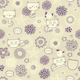 Vector seamless floral pattern with funny cats and birds