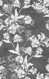 Vector seamless floral pattern with hand drawn flowers. Contains no transparency and gradients Stock Photo