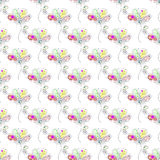 Vector seamless floral pattern Hand drawn outline decorative endless background with cute drawn flowers, decorative elements Graph. Ic illustration. Line drawing Royalty Free Stock Photography