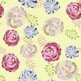 Vector seamless floral pattern with hand drawn peonies Stock Image