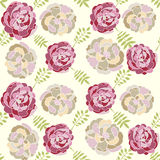 Vector seamless floral pattern with hand drawn peonies Royalty Free Stock Photo