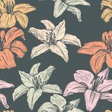 Vector seamless floral pattern with lilies Stock Photo