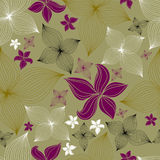 Vector Seamless floral pattern with lilly flower Stock Photos