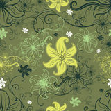 Vector Seamless floral pattern with lilly flower Royalty Free Stock Photography