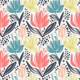 Vector seamless floral pattern with mute color minimalistic flowers on light background,botanical spring print design. Hand drawn repeatable multicolor royalty free illustration
