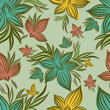 Vector Seamless floral pattern with orchid flower vector illustration