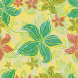 Vector Seamless floral pattern with orchid flower Stock Image