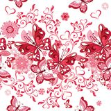 Vector Seamless floral pattern of pink hearts and butterflies. D Stock Photo