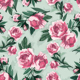 Vector seamless floral pattern with pink roses, watercolor