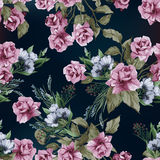 Vector seamless floral pattern with pink roses, watercolor vector illustration