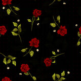 Vector seamless floral pattern with red roses on black backgroun Royalty Free Stock Images